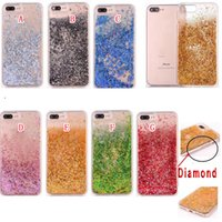 Quicksand Liquid Diamond Soft TPU Housse pour ordinateur pour Iphone 8 7 I7 6 6S Plus I6 Bling Tinfoil Love Heart Star Crystal Cell Phone Skin Cover 10pcs