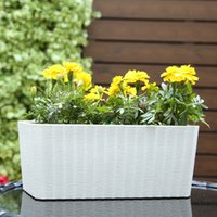 Planters painting plastic flower pots - Rectangle Shaped Paint Coating Self Watering Window Planter Tabletop Plant Pot with Water Level Indicator for Office Home Decor