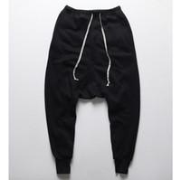 mens gota panty calças venda por atacado-Atacado- mens corredores calças casuais harem pants homens preto moda swag dance drop crotch hip hop calças sweatpants para homens