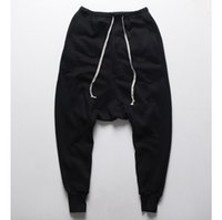 Wholesale Mens Dance Drop Crotch Pants - Wholesale- Mens joggers Casual trousers harem pants Men black Fashion swag dance drop crotch Hip Hop sweat pants sweatpants for Men
