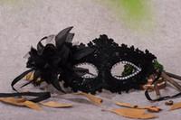 Wholesale Bridal Masquerade Masks - Sexy Masquerade Masks Black White Lace Bridal Halloween Masks Venetian Half Face Mask for Christmas Cosplay Party Eye Masks CPA917