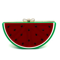 Wholesale Cell Phones Shell Shapes - Wholesale-Bolsa Women Leather Handbags 2016 Rushed Day Clutches Single Chains Bolsos New European Lovely Fruit Shape Watermelon Bag Hand