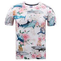 flor de rosas de verão print venda por atacado-T-shirt 3D Agradável T-shirt Dos Homens / mulheres tops de verão t shirt 3d impressão linda Flores rosas tubarão marca t-shirt 3d Ásia plus size