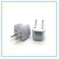 frete grátis venda por atacado-Cinza Branco Conversor de Viagem Carregador de Transferência AC Plug Power Adapter para a Alemanha Francês Dinamarca Holanda Frete Grátis