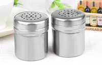 Wholesale Sugar Glass Jars - Camping Picnic Spice Sugar Salt Pepper Herb Shaker Jar Storage Bottle Stainless Steel Barbecue spice glass apothecary jar