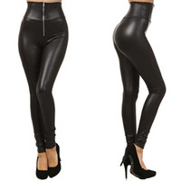 Wholesale Metallic Jeggings - Wholesale- 2016 High Quality Sexy Women Leggings High Waist Faux Leather Leggings Metallic Leggings Black Sexy Women Pants Slim Jeggings