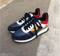 lederstiefel verkauf großhandel-2018 Top Qualität FD Luxusmarken FUN FUR Designer Sneaker Schuhe aus echtem Leder Geschenk Herren Frauen Racer