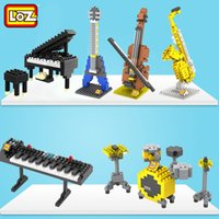 2017 Loz Musical Instrument Série Building Block Jouet Piano Guitare Basse Violon Saxophone mini 3D Modèle Éducatif Collection