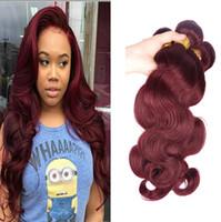 Wholesale 99j Hair Color Weave - Brazilian Body Wave Human Virgin Hair Weaves Ombre Burgundy 99J Color Double Wefts 100g bundle 3Bundles lot 4Bundles lot Hair Extensions