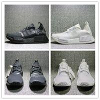 Wholesale Cheap Designer Men Shoes - Cheap New NMD Japan Pack Triple White BZ0221 Triple Black BZ0220 Real Boost NMD R1 Primeknit Running Shoes for men designer shoe size 36-45