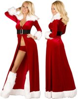 Wholesale sexy holiday clothes online - New Mascot Women Dress Christmas Party Santa Claus Holiday Costume Christmas Cape for Women Christmas Clothing Sexy