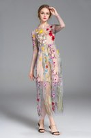 Wholesale Gauze Flower Wrapping - Hot full wrap embroidery colorful flower sun long sleeve gauze runway formal dress mesh maxi boutique dress big show catwalk full dress