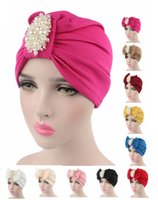 Wholesale Stylish Army Hats - 2016 new fashion women luxury bow Turban with the pearl jewelry cotton Hat Stylish Chemo cap detachable bowknot Indian cap