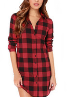 Wholesale Scottish Clothes - Women Sweetheart Fashion Hot sale Scottish Plaid Check Shirt Clothes Free Long short Casual tops long Blouse