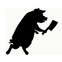Wholesale Live Pigs Wholesalers - Wholesale 10pcs lot Funny Pig Armed with A Chopper To Chase Animal Protection Theme Car Stickers Green Living Truck Window Cover Vinyl Decal