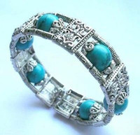 Wholesale Butterfly Turquoise Silver Bracelet - Hand-made Jewellery Tibet silver Butterfly 12mm Turquoise Bracelet
