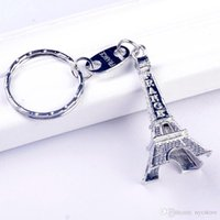 Wholesale Eiffel Tower Boy - Vintage Eiffel Tower Keychain stamped Paris France Tower pendant key ring gifts Fashion key chain Gold Sliver Bronze