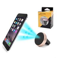 iphone aluminium stand großhandel-Universal Air Vent Magnetische Handyhalter Für iPhone Samsung Magnet Autotelefonhalter Aluminium Silikon Halterung Ständer (A2)