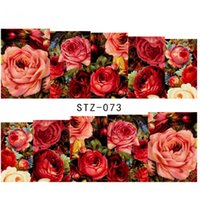 Wholesale Water Decals Rose - Wholesale-1 sheet Sexy Red Rose Water Transfer Nail Art Stickers Decals Decorations DIY Watermark Wraps Manicure Tools #STZ-073