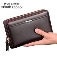 Wholesale Male Clutches - FEIDIKABOLO Double Zipper Men Clutch Bags PU Men's Leather Wallet Men Handy Bag Male Long Wallets Man Purses Carteira Masculina