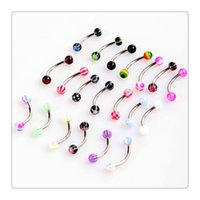 Wholesale Tragus Barbell - Nose Rings Fashion Colorful Stainless Steel Ball Barbell Curved Eyebrow Rings Bars Tragus Piercing Eyebrow Rings Bars Free Shipping