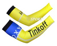 Wholesale Saxo Bank Cycling Arm Sleeves - 2017 bicycle saxo bank tinkoff Bike Cycling Sleeves Cycling Arm warmer Sun UV Protection Arm Sleeves Ciclismo ArmWarmer MTB Bike Accessories