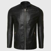 erkekler uçuş deri ceket toptan satış-Biker Deri Ceket Erkekler PU Deri Süet Ceket Erkek Aviator Uçuş Takım Elbise Siyah Biker Giyim Ince Fermuar Motosiklet Punk Tarzı