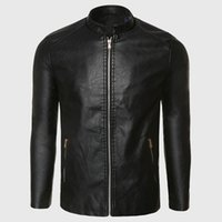 Wholesale Men Leather Aviator Jacket - Biker Leather Jacket Men PU Leather Suede Jacket Male Aviator Flight Suit Black Biker Clothing Slim Zipper Motorcycle Punk Style