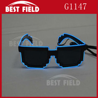 Wholesale Sunglasses Bit - Wholesale- Free shipping 8 bit pixel light up el wire led flashing mosaic glasses EDM EDC Rave Party Bar Eyeswear Accessory Sunglasses
