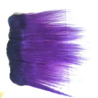 Wholesale Two Color Frontal Closure - Brazilian Virgin Hair Ear To Ear Two Tone Color 1B purple Ombre Full Lace Frontal Closure silk straight Human Hair Bleached Knots