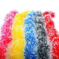 Wholesale Tinsel Xmas Decorations - Wholesale-2M Christmas Party Xmas Tree Ornaments Garland Ribbon Tinsel Hanging Decorations color bar for outdoor shop 5 color supply