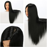 Wholesale Grade Practice - New Arrival 28'' Black Mannequin Heads Cut Marcel Hairdressing 100% Synthetic Top Grade Practice Training Head Model Total 0.85kg