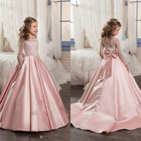 Wholesale Pretty Pink Pageants - Pretty Long Sleeves Pink 2017 Girl's Pageant Dresses With Bow Knot Satin Beaded Ball Gown Floor Length Flower Girl's Dresses
