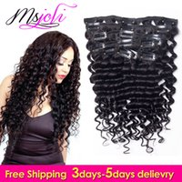 Peruvian 7A Virgin Human Hair Clip In Extension Deep Wave Full Head Couleur Naturelle cheveux beauté 7Pcs / lot 12-28 Pouces par Ms Joli