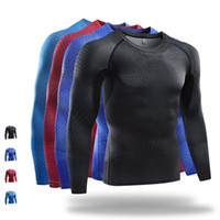Wholesale Tight Fit Shirts For Men - Brand 3D Printing Sport Running Shirts Men Long Sleeve Dry Fit Compression Gym Sport Tights for Fitness Basketball Crossfit Tee Tops M19