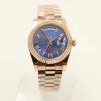 Wholesale Mens Automatic 18k Rose Gold - Luxury Brand watch men day date daydate sapphire glass blue dial 18k rose gold watch Automatic Watch Mens Watches free shipping
