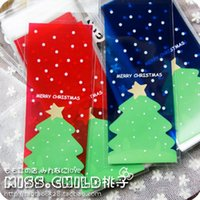 Wholesale Candy Packing Bags - Wholesale- 50pcs 7*16+3.5cm Red and Blue Christmas tree Cookie and Candy OPP Packing Bags Self-adhesive Seal DIY Gift Packaging Bag BZ148