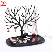 Wholesale ring holder tree - Brand New Jewelry Deer Horn Stand Necklace Earring Ring Display Organizer Holder Plastic Branch Tree Bracelet Display Rack