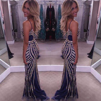 Wholesale Sexy Girls Laces - 2016 Navy Long Evening Dresses Sparkly Beading Crystals Spaghetti Straps Backless Sheath Girls Occasion Gowns 2017 Long Party Prom Dresses