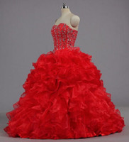Wholesale new quinceanera dresses strapless coral organza resale online - New Elegant Red Ball Gowns Quinceanera Dresses With Beads Crystals Lace Up Sweet Dresses Year Prom Gowns QS1078
