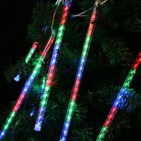 lumières de pluie à météorite led extérieures achat en gros de-Multi-couleur 13.1ft Météor Douche Pluie Tubes 8 LED Lumières De Noël De Noce Jardin De Noël Chaîne De Lumière En Plein Air Décor Intérieur