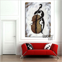 Oil Painting art cello - Abstract Cello Player Painting Modern Simple Hand Painted Oil Painting Wall Art Decoration Home or Office Gift