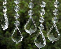 Wholesale Crystal Christmas Garland - Clear Acrylic Crystal Pendants Hanging Bead Drape Garland Wall Panel Wedding Decor Garland Tassel Screen Christmas Tree DIY party Decorative