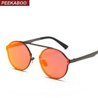 Wholesale Flat Top Retro Sunglasses - Wholesale- Peekaboo metal flat top rimless sunglasses round men retro round frame sunglasses women round mirror red pink
