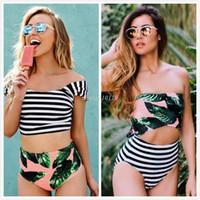 Wholesale Tankinis Suits - New Leaf Printed Green Sexy Women Bikini Swimwear Summer Female Bathing Suit Stripe Monokini Swimsuit Biquini