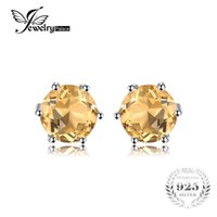 JewelryPalace Gemstone Natural Citrine Earrings Stud Pure Solid Подлинная 925 серебро 2017 Brand Women Fine Jewelry Gift