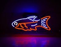 Wholesale Commercial Fishing - New Tat tire Neon Beer Sign Bar Sign Real Glass Neon Light Beer Sign TN 160 Tropical fish 15x10 blue red 001