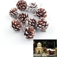 Wholesale Pine Tree Home Decor - Christmas Tree Hanging Pine Cones Balls Simulation Natural Pineal 9pcs Lot Party Decoration Ornament Decor For Home Christmas Supplies EMS
