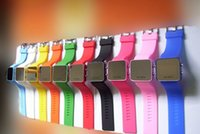 Wholesale Mens Makeup - 1000pcs Ladies Women LED mirror Makeup watch sport watches For Mens Students unisex fashion plastic rubber jelly silicone digital Watch