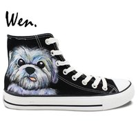 Wholesale Custom Paint Design - Wen Hand Painted Casual Shoes Custom Design Cute Pet Dog Black High Top Canvas Shoes Women Men's Christmas Gifts